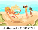 girls playing volleyball on... | Shutterstock .eps vector #1133150291