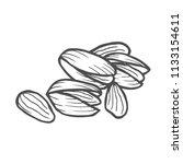 hand drawn pistachios set. open ... | Shutterstock .eps vector #1133154611
