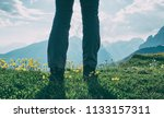 woman hiking in mountains | Shutterstock . vector #1133157311