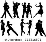 couples dancing sports dancing  ... | Shutterstock .eps vector #113316571