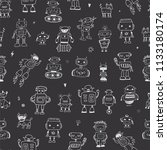 funny doodle robots seamless... | Shutterstock . vector #1133180174