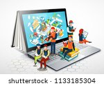 laptop as a book. people are... | Shutterstock . vector #1133185304