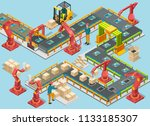 automatic factory with conveyor ... | Shutterstock . vector #1133185307
