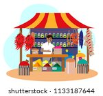 asian spice shop with seller   Shutterstock .eps vector #1133187644