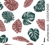 tropical jungle leaves. vector... | Shutterstock .eps vector #1133192435