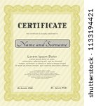 yellow certificate template or... | Shutterstock .eps vector #1133194421
