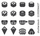 sushi icons  black edition  | Shutterstock .eps vector #1133206637
