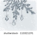 hand drawn fir branch with... | Shutterstock .eps vector #113321191