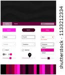 dark pink vector ui ux kit with ...
