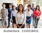 mixed race businesswoman and... | Shutterstock . vector #1133218421