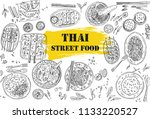 thai food flyer design. linear... | Shutterstock .eps vector #1133220527