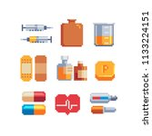 medicine pixel art icons set....   Shutterstock .eps vector #1133224151