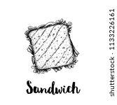 rectangular sandwich with ham ... | Shutterstock .eps vector #1133226161