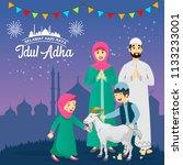 eid al adha greeting card.... | Shutterstock .eps vector #1133233001