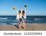two pretty slim tanned woman... | Shutterstock . vector #1133235041