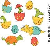 cute cartoon dinosaurs baby in... | Shutterstock .eps vector #1133256209
