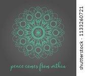 thin line green lace mandala on ...   Shutterstock .eps vector #1133260721