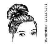 woman with stylish classic bun... | Shutterstock .eps vector #1133271371