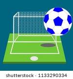 white and blue soccer ball on...   Shutterstock .eps vector #1133290334