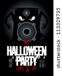 halloween party design template ... | Shutterstock .eps vector #113329735