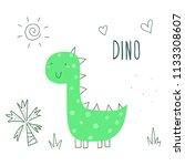 cute hand drawn dinosaur... | Shutterstock .eps vector #1133308607
