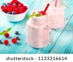 yogurt smoothies berries... | Shutterstock . vector #1133316614