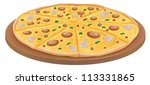 Illustration Of Pizza On A...