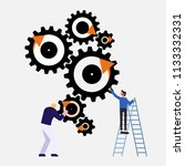 business people with cog vector | Shutterstock .eps vector #1133332331