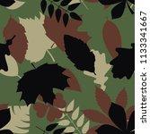 seamless woodland tree leaves... | Shutterstock .eps vector #1133341667