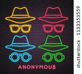 anonymous icon set neon light... | Shutterstock .eps vector #1133353559