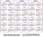calendar grid for 2019  2020... | Shutterstock .eps vector #1133355944