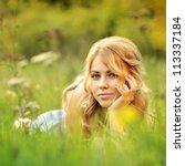 Beautiful Girl Lying In Autumn...