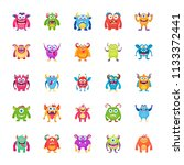 monster characters icons  | Shutterstock .eps vector #1133372441