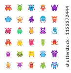 monster characters flat icons  | Shutterstock .eps vector #1133372444