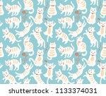 seamless pattern with cats | Shutterstock .eps vector #1133374031
