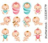 newborn baby icon set    raster ... | Shutterstock . vector #113339779