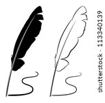black and white feathers  ... | Shutterstock . vector #113340139