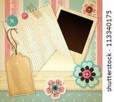 vintage scrapbook background  ... | Shutterstock . vector #113340175
