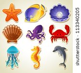 sea animals stickers icon set   ... | Shutterstock . vector #113340205