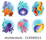 sea animals icon set   raster... | Shutterstock . vector #113340211