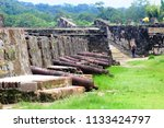 Small photo of cannons located in the ruins of the ancient city of Portobelo in the Panamanian Caribbean