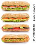 collection of baguettes with... | Shutterstock . vector #1133426207