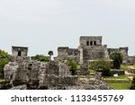 the tulum ruins in the riviera...   Shutterstock . vector #1133455769