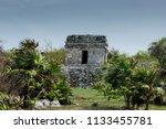 the tulum ruins in the riviera...   Shutterstock . vector #1133455781