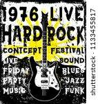 rock poster monochrome hipster... | Shutterstock . vector #1133455817