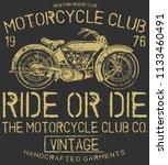 vintage motorcycle t shirt... | Shutterstock . vector #1133460491