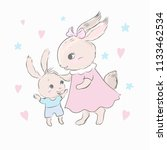 rabbit mother with her little... | Shutterstock .eps vector #1133462534