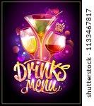drinks menu cover vector design ... | Shutterstock .eps vector #1133467817