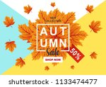 autumn sale flyer template with ... | Shutterstock .eps vector #1133474477