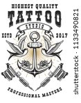 tattoo studio poster template.... | Shutterstock .eps vector #1133490821